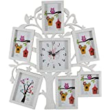 7Days Aapka Bazar Family Tree Decorative Collage Photo Frame With Square Clock