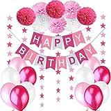 Decorazione Compleanno Bimba. Bandierine di Buon Compleanno 'Happy Birthday' + Set di 8 Pompon a fiore + 2 Festoni con Stelle di 3 m + 12 Palloncini Perlati Rosa Bianco Fucsia.