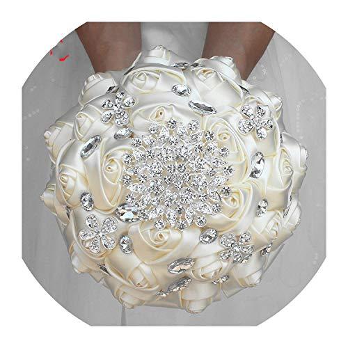 Wonderful You EIN 1 Stück Creme Elfenbein Kunstblumen Brautsträuße Atemberaubende Crystal Stitch Brautjungfer Brautsträuße, 21 cm wählen Sie die Farbe