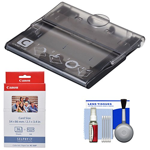 Canon PCC-CP400 Card Size Cassette for Selphy CP1200, CP1300 Printers with KC-36IP Color Ink Paper Set + Cleaning Kit
