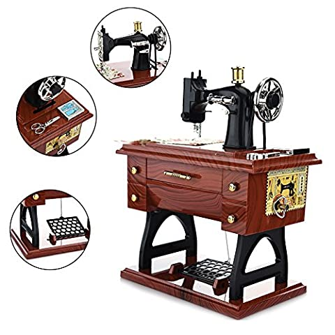 Sundlight No Battery Amazing Mini Music Box Sewing Machine Wing Music Box Retro Classical Desk Decor