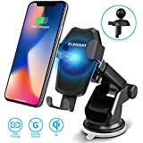 ELEGIANT Wireless Car Charger Mount, 2 in 1 Car Air Vent & Dashboard Universal Phone Holder 10W Qi Fast Wireless Charger with Gravity Sensor for iPhone Xs/X /8/8 Plus Galaxy S9/S9+,S8/S8+,S7/S7 Edge