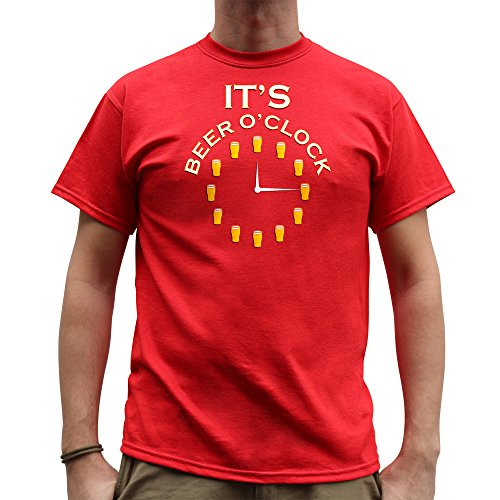 Nutees It's Beer O'clock Pub Drinking Stag Do Funny Herren T Shirt - Rot XX-Large