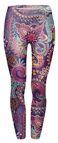 FRINGOO - Legging de sport - Femme Taille Unique Mandala Flowers Pink