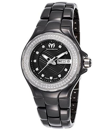 TECHNOMARINE WOMEN'S 36MM BLACK CERAMIC BAND & CASE QUARTZ ANALOG WATCH 111054