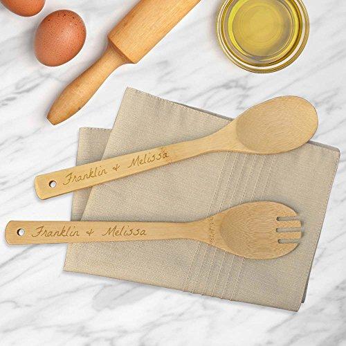 personnalisé Direct Couples Cuillère à salade en bambou et Spork Ensemble
