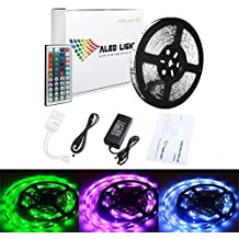 ALED LIGHT® 10M LED Strip/ tira llevada RGB 5050 SMD 300 leds , 44 Mando a distancia Clave + Adaptador de corriente 24V 5A + Receptor + Descripción del producto.