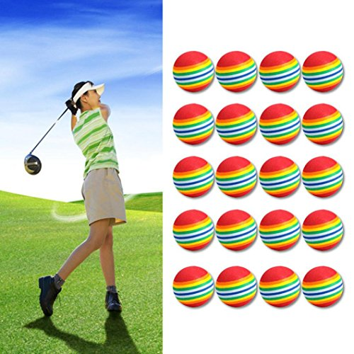 Hunpta 20 pcs/lot à rayures arc-en-ciel en mousse Balles de golf Swing Practise aides à la formation, multicolore