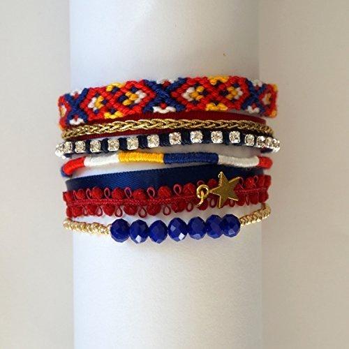 bracelet-multirang-milo-manchette-bresilienne-bleu-rouge-et-or-rubans-perles-et-strass