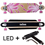 FunTomia® Longboard Skateboard Drop Through Cruiser Komplettboard mit Mach1® ABEC-11 High Speed Kugellager T-Tool (Modell Freerider2 - Farbe pink Blume mit LED Rollen + T-Tool)