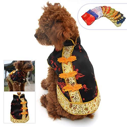 Lovelonglong 2019 Hundekostüme Cheongsam Qipao Kleider für kleine Hunde Katzen Haustiere Tang Dynastie Kostüm, L (for small Dog), schwarz