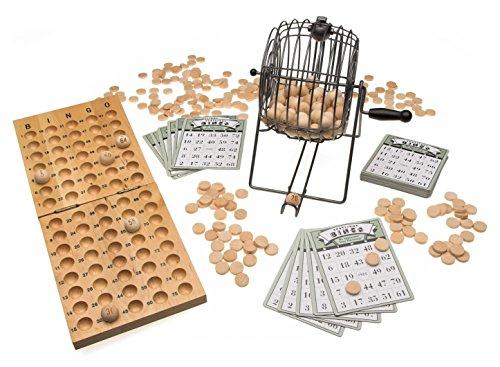 Sport-Thieme Bingo-Spiel mit Bingotrommel | Bingo-Set: Metaltrommel mit Handkurbel, 75 Bingo-Kugeln, 310 Bingo-Chips, 24 Bingo-Karten u. Spielbrett aus Holz | Hochwertig und Robust