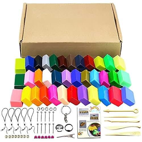 figuras kawaii porcelana fria Kit de 32 colores de arcilla polimérica, 5 herramientas y distintos accesorios para el modelado, con tutoriales 32 colors