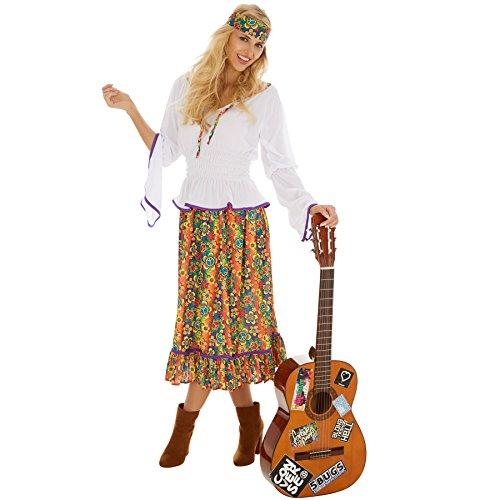 TecTake dressforfun Frauenkostüm Lady Love & Peace | Oberteil mit Lila Borte || Langer Rock mit Blumenprint || Inklusive Haarband (XL | Nr. 300940) (70's Rock Kostüme)