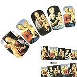 JUSTFOX - Tattoo Nail Gemälde christlich Kunstwerk Frau mit Baby Aufkleber Nagel Sticker