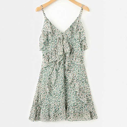 Plissiert Halfter Chiffon-kleid (QAQBDBCKL Sommerfrauen Kleid Mode Blumen Blumen V-Ausschnitt Halfter Sexy Lady Chiffon Print Kleid Freizeit Urlaub Elegantes Markenkleid)
