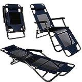 Faltbare Campingliege Freizeitliege Verstellbare Gartenliege Liegestuhl mit Nackenstütze Klappliege in Dunkelblau Stahlrahmen Belastbarkeit max. 120KG 178cm
