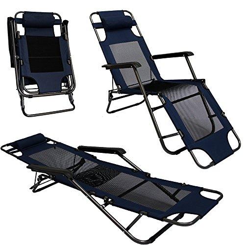 AMANKA Faltbare Campingliege Freizeitliege Verstellbare Gartenliege Liegestuhl mit Nackenstütze...