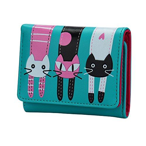 OSYARD Damen PU Leder Geldbörse Damen Portemonnaie Damen Geldbeutel Lang Brieftasche Purse Wallet Münzbörsen - Bestes Geschenk für Katzenliebhaber