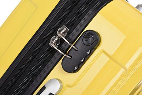 BEIBYE Zwillingsrollen 2048 Hartschale Trolley Koffer Reisekoffer in M-L-XL-Set in 17 Farben GELB