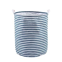 Fancybox Collapsible Laundry Basket (2 Colors), Canvas Fabric Folding Toy Storage Basket Cylindrical Dirty Laundry Container for Toys, Clothes, Bedroom or Baby