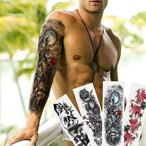 48 * 17 Cm Männer Volle Armmanschette Tattoos Armee Krieger Soldat Temporäre Tattoos Aufkleber Große Wasserdichte Tattoos Cool Girl Body - Wirklich Cool Kids Kostüm