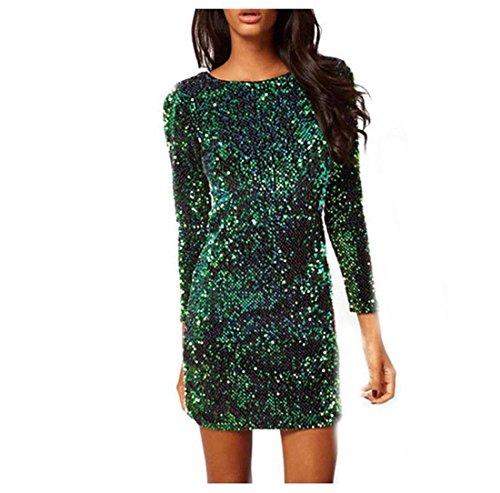 BAINASIQI Damen Sexy Paillettenkleid Minikleid Kurz Cocktailkleid Partykleid Abendkleid mit Rückenfrei V-Ausschnitt Design (Grün, S)
