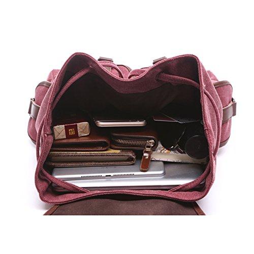 Outreo Borsa Donna Zaino Ragazza Borsello Vintage Bag Laptop Backpack per Studenti Scuola Università Casual Borse Viaggio Coulisse Zaini Firmate Sacchetto Rosso