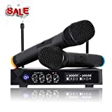 LESHP S9-UHF Professional Wireless LCD Microphone System with 2 Handheld Microphones for Karaoke
