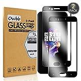 Owbb 2 Pièces Film Protecteur D'écran en Verre Trempé pour OnePlus 5 Noir Couverture Complète Protection 99% Haute Transparent Anti-déflagrant