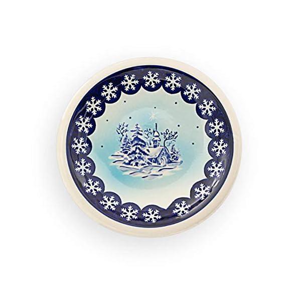 Bunzlauer Keramik Ceramic Dinner Plate (Cake/Stollen Plate/Pastry Dish with Winter Landscape ø17,4cm im Premium Decor DU11