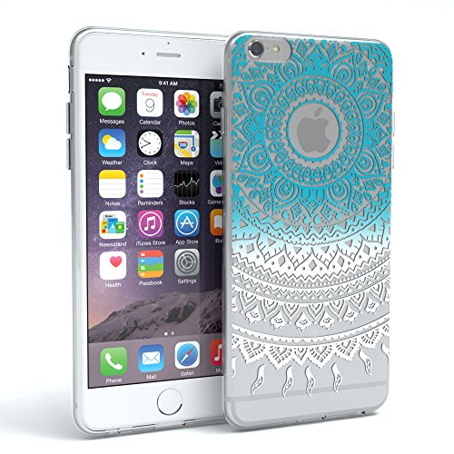 """Apple iPhone 6S / 6 Hülle, EAZY CASE Cover """"Henna"""" - Premium Handyhülle mit Indischer Sonne - Transparente Schutzhülle in Weiß / Transparent Blau / Weiß"""