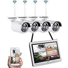 """LESHP überwachungskamera Set 5G drahtloses NVR WiFi-Kamera-System mit 12"""" screen-Monitor und 4 * 960p WiFi-IP Netzwerkkamera für die Überwachung des Eigenheims."""