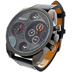 Montre Concept - men's Analog Watch Ernest - Orange Synthetic Strap / Bracelet - Round Dial Black Background