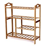 Songmics 4 Tier Natural Bamboo Shoe Rack Storage Organiser Holder LBS94B