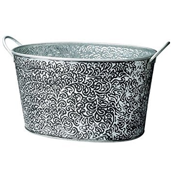 KINDWER Antiqued Vine Relief Oval Party Tub, Silver by KINDWER - Vine Oval