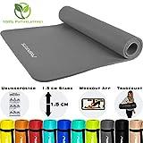 MSPORTS Gymnastikmatte Premium inkl. Tragegurt + Übungsposter + Workout App I Hautfreundliche Fitnessmatte 190 x 100 x 1,5 cm - Anthrazit - Phthalatfreie Yogamatte