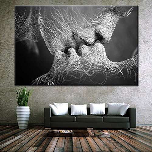 ZEMER Bacio StampeeQuadrisuTela Immagine Senza Cornici Coppia Romantica Che Si Bacia Astratto Decorazione di Arte della Parete Giclée Stampa Artistica,A,60x100