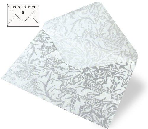 Rayher Hobby RAYHER - Kuvert B6, Japan Seide Celebration weiß, 180x120 mm, 80g, brillant silber (120 Seide)