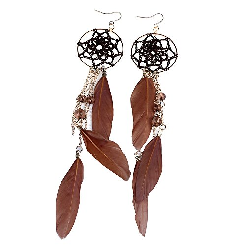 New Bohemian So-buts Feder Perlen langes Design Dream Catcher Ohrringe Frauen Schmuck (Braun)