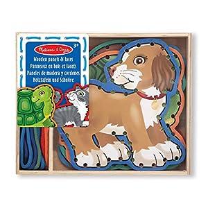 Melissa & Doug 13782 - 5 paneles de madera y 5 cordones concordantes - mascotas , Modelos/colores Surtidos, 1 Unidad