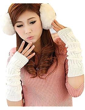 TININNA punto guantes sin dedos brazo invierno mujur caliente suave manopla Blanco