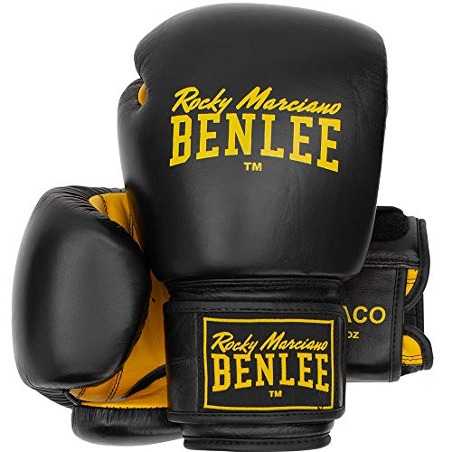BENLEE Rocky Marciano Unisex - Erwachsene Draco Leather Boxing Glove, Black/Yellow, 12 oz