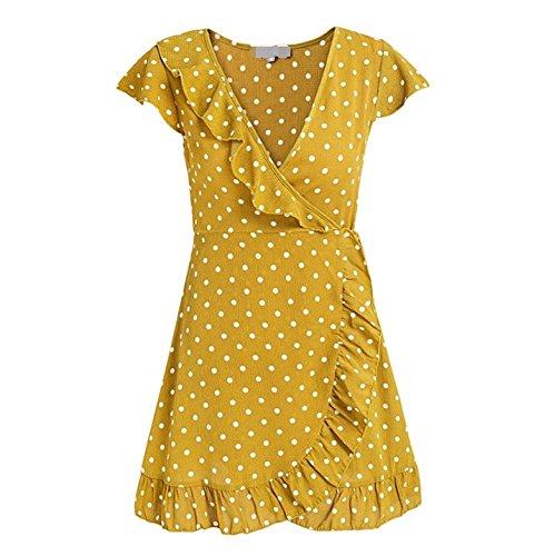 YELINGYUE Gelb Polka Dot Sommer Mini V-Ausschnitt, Rüschen Wrap Frauen Kurze Ärmel mit Hoher Taille Kleid Eine Zeile, Gelb, M (Mini Rüschen Polka Dot)