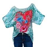 TUDUZ Damen Strass Liebe Schmetterling Drucken O-Ausschnitt Kurzarm Tops T-Shirt Oberteil