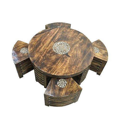 Küche Mit Indische Teppichen (stylla London Lounge Küche rund Couchtisch mit vier Hocker-Set, Holz, braun, 30x 30x 20cm)