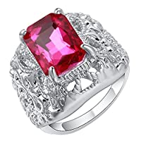 Bigood Women Fashion Jewelry Plated 925 Sterling Silver Pink CZ Rings 8