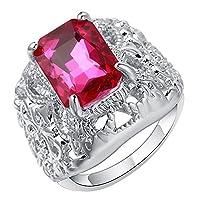 Bigood Women Fashion Jewelry Plated 925 Sterling Silver Pink CZ Rings 8