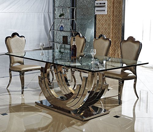 Smaragd Designer Esstisch Edelstahl Esszimmer Tisch Glastisch Glas Hochglanz Größe 200_x_100_x_75_cm