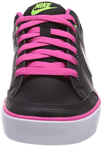 Nike Capri 3 Leather Unisex-Kinder Tennisschuhe Schwarz (Black/White-Flash Lime-Ht Pink 008)